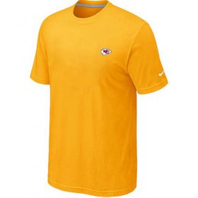 Wholesale Cheap Nike Kansas City Chiefs Chest Embroidered Logo T-Shirt Yellow