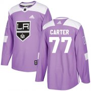 Wholesale Cheap Adidas Kings #77 Jeff Carter Purple Authentic Fights Cancer Stitched NHL Jersey