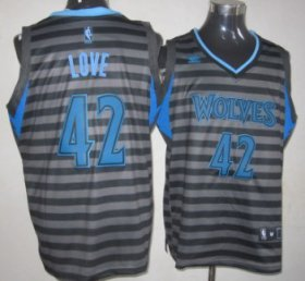 Wholesale Cheap Minnesota Timberwolves #42 Kevin Love Gray With Black Pinstripe Jersey