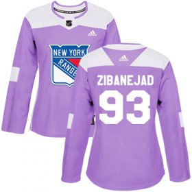 Wholesale Cheap Adidas Rangers #93 Mika Zibanejad Purple Authentic Fights Cancer Women\'s Stitched NHL Jersey