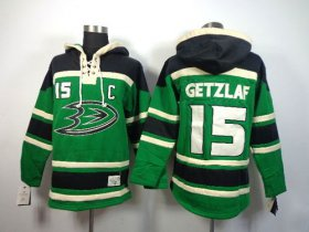 Wholesale Cheap Ducks #15 Ryan Getzlaf Green St. Patrick\'s Day McNary Lace Hoodie Stitched NHL Jersey