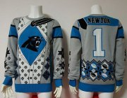 Wholesale Cheap Nike Panthers #1 Cam Newton Blue/Grey Men's Ugly Sweater