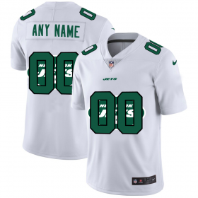 Wholesale Cheap New York Jets Custom White Men\'s Nike Team Logo Dual Overlap Limited NFL Jersey