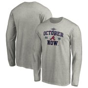Wholesale Cheap Atlanta Braves Majestic 2019 Postseason ACE Long Sleeve T-Shirt Heather Gray