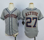 Wholesale Cheap Astros #27 Jose Altuve Grey Cool Base Stitched Youth MLB Jersey