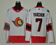 Wholesale Cheap Men's Ottawa Senators #7 Brady Tkachuk White Adidas 2020-21 Stitched NHL Jersey