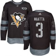 Wholesale Cheap Adidas Penguins #3 Olli Maatta Black 1917-2017 100th Anniversary Stitched NHL Jersey