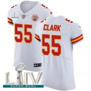 Wholesale Cheap Nike Chiefs #55 Frank Clark White Super Bowl LIV 2020 Men's Stitched NFL New Elite Jersey