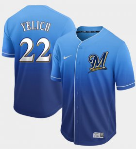 Wholesale Cheap Nike Brewers #22 Christian Yelich Royal Fade Authentic Stitched MLB Jersey