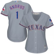 Wholesale Cheap Rangers #1 Elvis Andrus Grey Road Women's Stitched MLB Jersey