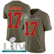 Wholesale Cheap Nike Chiefs #17 Mecole Hardman Olive Super Bowl LIV 2020 Men's Stitched NFL Limited 2017 Salute To Service Jersey