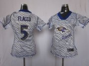 Wholesale Cheap Nike Ravens #5 Joe Flacco Zebra Women's Stitched NFL Elite Jersey