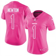 Wholesale Cheap Nike Panthers #1 Cam Newton Pink Women's Stitched NFL Limited Rush Fashion Jersey