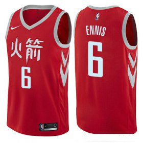 Wholesale Cheap Houston Rockets #6 Tyler Ennis Red Nike NBA Men\'s Stitched Swingman Jersey City Edition