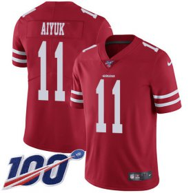 Wholesale Cheap Nike 49ers #11 Brandon Aiyuk Red Team Color Youth Stitched NFL 100th Season Vapor Untouchable Limited Jersey