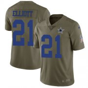 Wholesale Cheap Nike Cowboys #21 Ezekiel Elliott Olive Youth Stitched NFL Limited 2017 Salute to Service Jersey