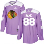 Wholesale Cheap Adidas Blackhawks #88 Patrick Kane Purple Authentic Fights Cancer Stitched Youth NHL Jersey