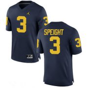 Wholesale Cheap Men's Michigan Wolverines #3 Wilton Speight Navy Blue Stitched College Football Brand Jordan NCAA Jersey
