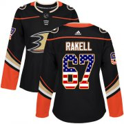 Wholesale Cheap Adidas Ducks #67 Rickard Rakell Black Home Authentic USA Flag Women's Stitched NHL Jersey