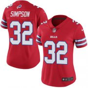 Wholesale Cheap Nike Bills #32 O. J. Simpson Red Women's Stitched NFL Limited Rush Jersey