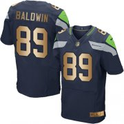 Wholesale Cheap Nike Seahawks #89 Doug Baldwin Steel Blue Team Color Men's Stitched NFL Elite Gold Jersey