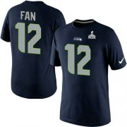 Wholesale Nike Seattle Seahawks #12 Fan Pride Name & Number 2015 Super Bowl XLIX NFL T-Shirt Navy Blue