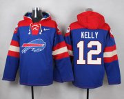 Wholesale Cheap Nike Bills #12 Jim Kelly Royal Blue Player Pullover NFL Hoodie