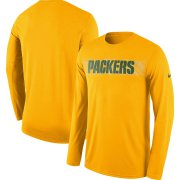 Wholesale Cheap Green Bay Packers Nike Sideline Seismic Legend Long Sleeve T-Shirt Gold