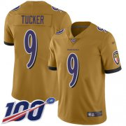 Wholesale Cheap Nike Ravens #9 Justin Tucker Gold Men's Stitched NFL Limited Inverted Legend 100th Season Jersey