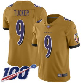 Wholesale Cheap Nike Ravens #9 Justin Tucker Gold Men\'s Stitched NFL Limited Inverted Legend 100th Season Jersey