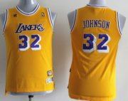 Cheap Los Angeles Lakers #32 Magic Johnson Yellow Swingman Throwback Kids Jersey