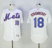 Wholesale Cheap Mets #18 Darryl Strawberry White(Blue Strip) Flexbase Authentic Collection Stitched MLB Jersey