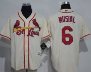 Wholesale Cheap Cardinals #6 Stan Musial Cream New Cool Base Stitched MLB Jersey