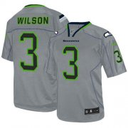 Wholesale Cheap Nike Seahawks #3 Russell Wilson Lights Out Grey Men's Stitched NFL Elite Jersey