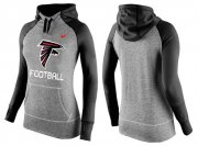 Wholesale Cheap Women's Nike Atlanta Falcons Performance Hoodie Grey & Black_1