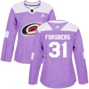 Wholesale Cheap Adidas Hurricanes #31 Anton Forsberg Purple Authentic Fights Cancer Women's Stitched NHL Jersey