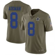 Wholesale Cheap Nike Cowboys #8 Troy Aikman Olive Youth Stitched NFL Limited 2017 Salute to Service Jersey