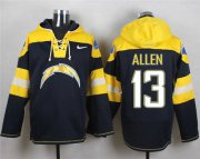 Wholesale Cheap Nike Chargers #13 Keenan Allen Navy Blue Player Pullover NFL Hoodie