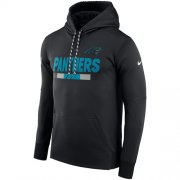 Wholesale Cheap Men's Carolina Panthers Nike Black Sideline ThermaFit Performance PO Hoodie