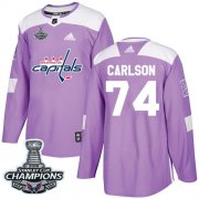 Wholesale Cheap Adidas Capitals #74 John Carlson Purple Authentic Fights Cancer Stanley Cup Final Champions Stitched Youth NHL Jersey
