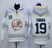 Wholesale Cheap Yankees #19 Masahiro Tanaka White Sawyer Hooded Sweatshirt MLB Hoodie