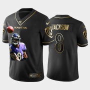 Cheap Baltimore Ravens #8 Lamar Jackson Nike Team Hero 6 Vapor Limited NFL 100 Jersey Black Golden