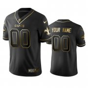 Wholesale Cheap Saints Custom Men's Stitched NFL Vapor Untouchable Limited Black Golden Jersey