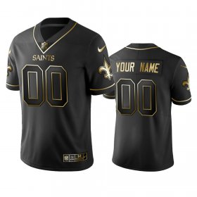 Wholesale Cheap Saints Custom Men\'s Stitched NFL Vapor Untouchable Limited Black Golden Jersey