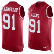 Wholesale Cheap Nike 49ers #91 Arik Armstead Red Team Color Men's Stitched NFL Limited Tank Top Jersey