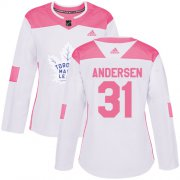 Wholesale Cheap Adidas Maple Leafs #31 Frederik Andersen White/Pink Authentic Fashion Women's Stitched NHL Jersey