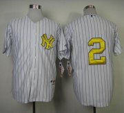Wholesale Cheap Yankees #2 Derek Jeter White Fashion Gold w/Commemorative Retirement Patch Stitched MLB Jersey