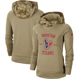 Wholesale Cheap Women\'s Houston Texans Nike Khaki 2019 Salute to Service Therma Pullover Hoodie