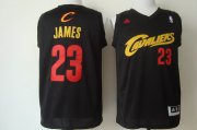 Wholesale Cheap Cleveland Cavaliers #23 LeBron James 2014 Black With Red Fashion Jersey