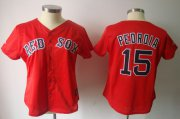 Wholesale Red Sox #15 Dustin Pedroia Red Women's Fashion Stitched Baseball Jersey